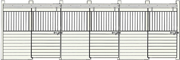 row of horse stall fronts