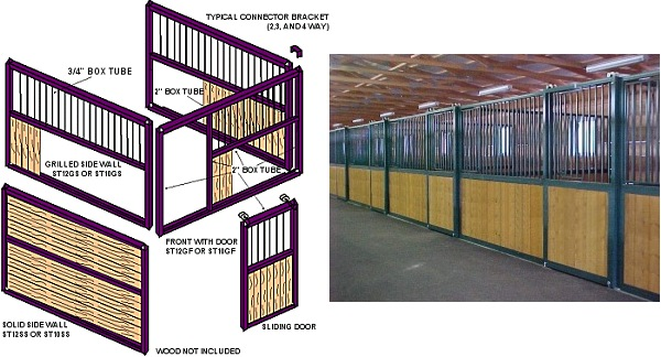 painted steel modular horse stalls